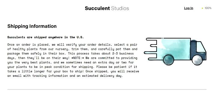 Succulent Studios - Secure Shipping