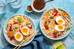 Sun Basket - Asian rice noodle bowls with sesame dressing and soft-cooked eggs