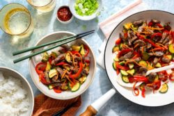 Sun Basket - Hanoi steak stir-fry with zucchini and pepper over white rice