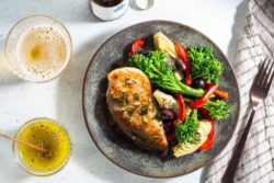 Sun Basket - Mediterranean lemon chicken with baby broccoli, artichokes, and olives
