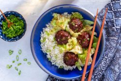 "Sun Basket - Shanghainese meatballs with cabbage and char siu sauce over cauliflower ""rice"""
