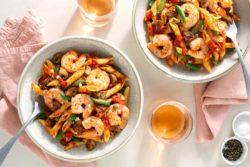 Sun Basket - Shrimp penne arrabbiata with mushrooms and green beans