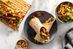 Sun Basket - Sweet and sour eggplant wraps with spiced cashews and bok choy slaw