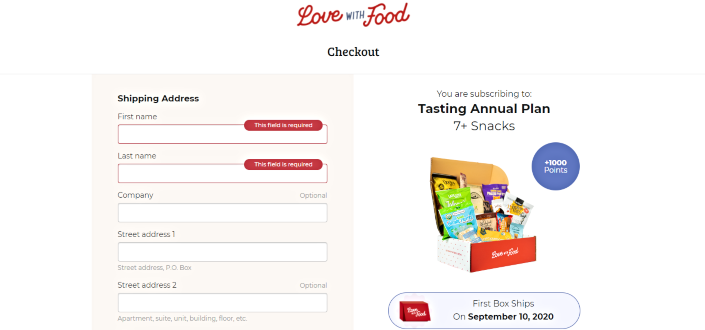 Love with food review - Add your shipping and payment details