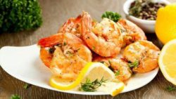 Roasted Harissa Shrimp with Gratin